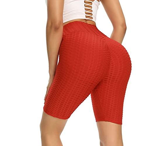 ZJFCMIRROR Pantalon Corto Deporte Mujer Elástico Shorts de Nido de Abeja para Gym y Yoga