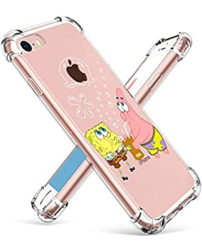 """Coralogo for iPhone 7/8/SE 2020 TPU Case 3D Cute Cartoon Funny Design Stylish Character Kawaii Fashion Fun Unique Cool Cover Skin Teens Kids Girls Boys Cases for iPhone 7/8/SE 4.7""""  Sponge Patrick"""