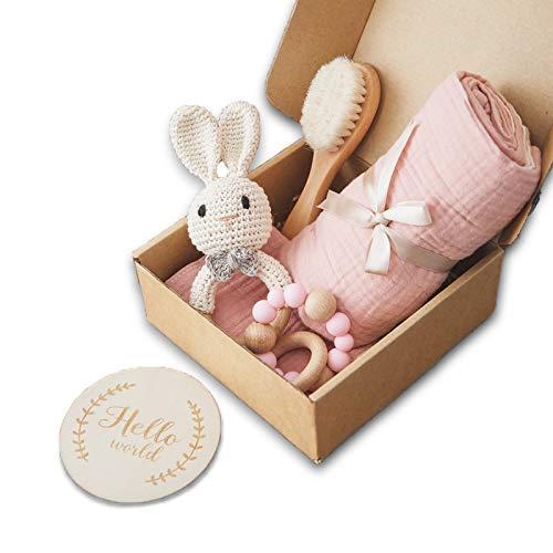 Set Recién nacido - Muselina de algodón + cepillo de bebé + mordedor + babero - Set para el cuidado del bebé - 6 pcs bebe unisex - Regalo original para bebé