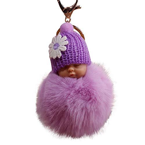XXYsm Schlüsselanhänger Elegant Weich Keychain Handtaschenanhänger Dekor Niedlichen Plüsch Ball PomPom Schlafen Puppe Violett
