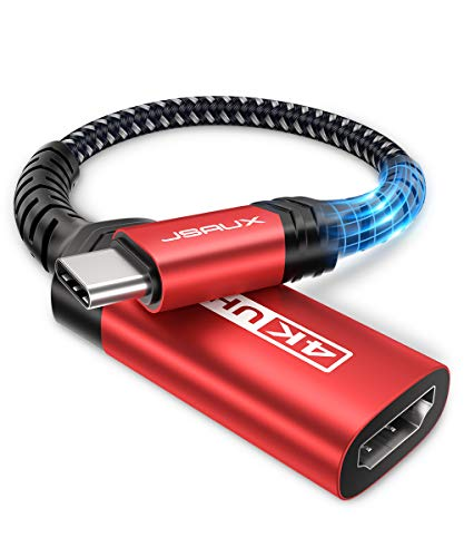 USB-C to HDMI Female Adapter 4K@60Hz, JSAUX USB Type-C to HDMI Adapter Cord [Thunderbolt 3] Compatible with MacBook Pro 2018 2017, iPad Pro 2021, Samsung Galaxy S20 Note10 S10 S9 S8, Dell XPS 15-Red