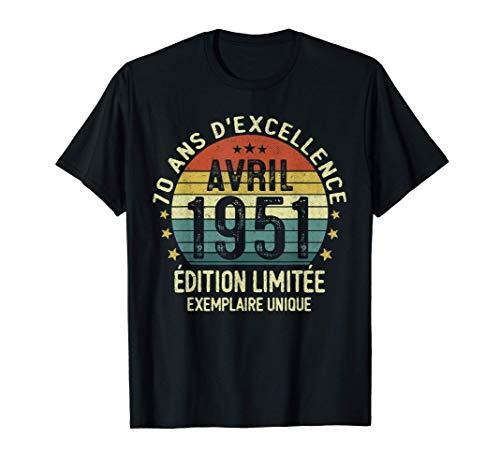 70 Ans Anniversaire Homme Millésime Fabriqué en Avril 1951 T-Shirt