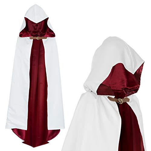papapanda Umhang mit Kapuze Krieger Assassins Kostüm Weiß Rot für Kinder (110cm)