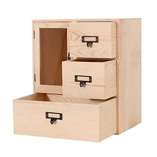 JCNFA-BOEKENPLANK Massief Houten Desktop Opbergdoos, Cosmetische Opbergkastrekken, Acrylglas, Plankdossierboek Weergeven Aanrechtblad Met Lade (Color : Wood, Size : 11.81 * 7.87 * 13.77in)