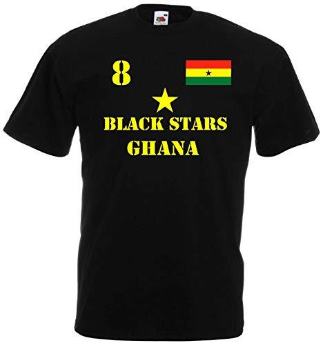World of Shirt Herren T-Shirt Ghana Black Stars im Trikot Look