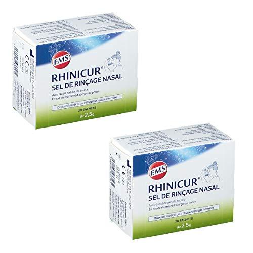 RHINICUR - Sel de Rinçage contenant un mélange de sels minéraux avec 5% de sel naturel d'Ems 2 Boites de 20 sachets de Sel de Rinçage RHINICUR (2)