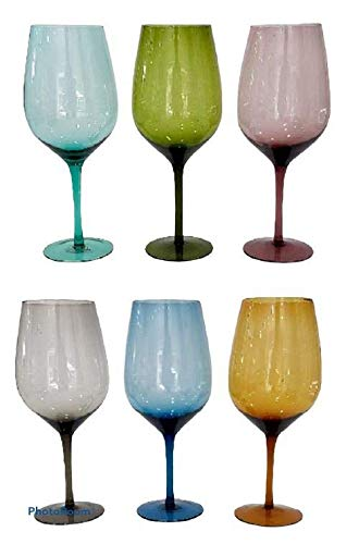 Pagano Home - 6 copas de vino de colores surtidos, multicolor, capacidad 800 ml, modelo 8009 (rojo, transparente, lila, verde, naranja y celeste)