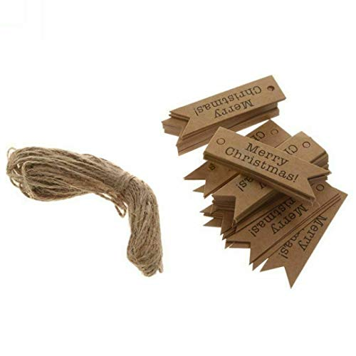 [UK Stock]New Christmas Kraft Paper Gift Tags Scallop Label Luggage Blank + Strings (Brown)