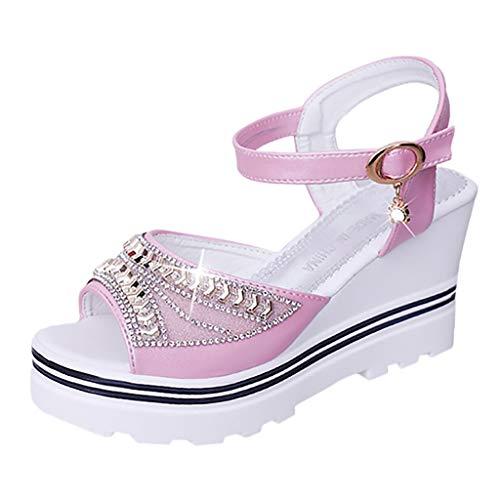Qmber Damen Klassische Keilabsatz Espadrilles mit Bändern zum Schnüren Knöchelriemchen Sandalen mit Keilabsatz/Pink,36