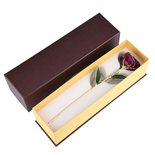 SALUTUYA 24 Karat vergoldete rote Rose, echte Rose 24 Karat vergoldete rote Rose Valentinstag Blumengeschenke für Sie