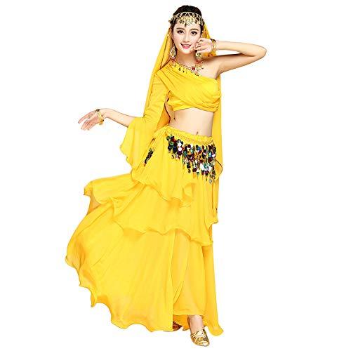 Xinvivion Danza India Disfraz para Mujer - Danza del Vientre Outfit Set Halloween Carnaval Bailando Ropa de Rendimiento,Amarillo