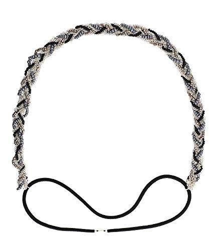 SIX Haarband versilbert geflochten mit Zierperlen und Metallketten, elastisch, modisches Accessoire (456-855)