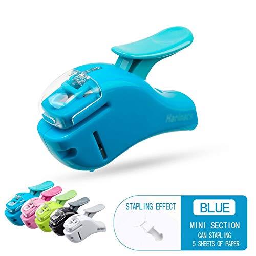 Geen naald mini nietje, handdruk kunst design - licht en comfortabel, neemt 50% minder moeite, voor thuis of op kantoor AAA-nietmachine blauw
