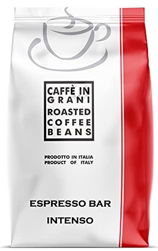 NEU Caffé in Grani – Espresso Intenso | 1 kg ganze Kaffeebohnen | starker Kaffee, intensive Kaffeebohnen mit starker Schokoladiger Note | Barista-Qualität aus italien