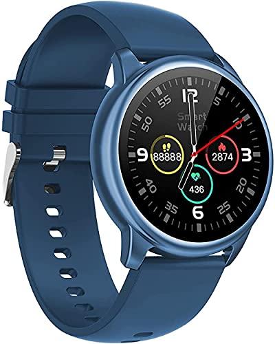 Reloj inteligente de llamada Bluetooth para hombres y mujeres Health Tracker nuevo deporte pantalla táctil completa Fitness Tracker-azul