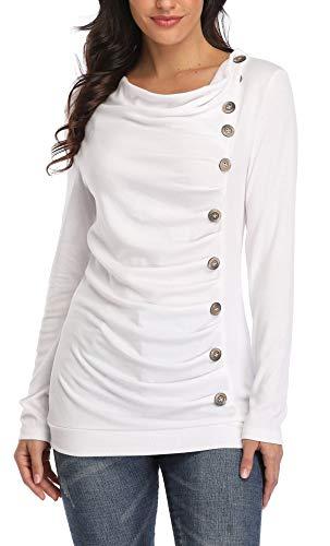 MISS MOLY Damen Langarmshirt Pullover Tunika Bluse T Shirt mit Knöpfen Beige Medium
