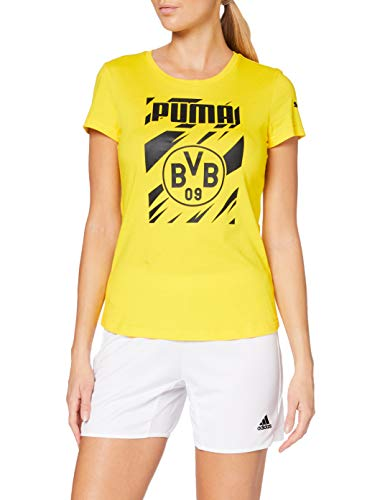 PUMA Damen BVB ftblCore Graphic Tee W T-Shirt, Cyber Yellow Black, L