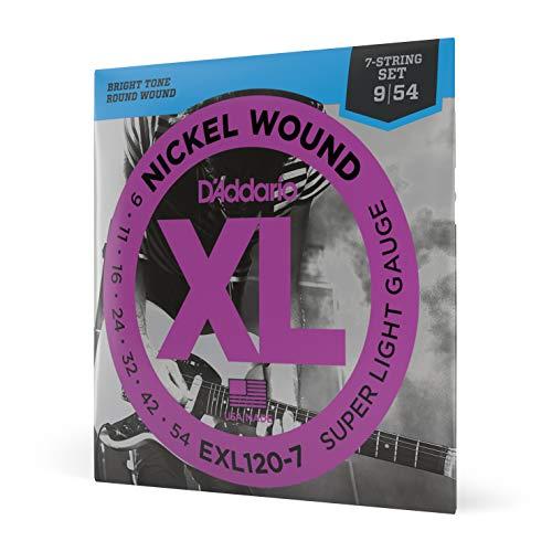 D'Addario EXL120-7 - Juego de cuerdas para guitarra eléctrica de níquel, 009'...
