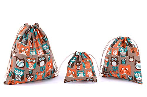 abaría 3 Unidades Bolsas algodón con Cuerda organizadore para bebé Ropa Juguete pañale