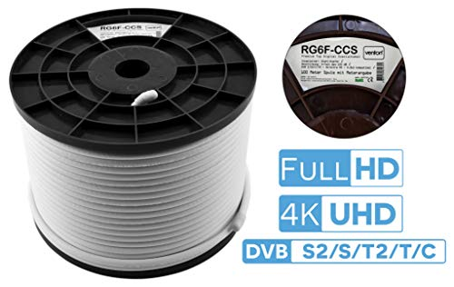 Venton Coaxkabel, SAT-coaxkabel, 300 m, 135 dB, max. 5-voudig afgeschermde HQ Coax antennekabel satellietkabel voor DVB-S / S2 DVB-C en DVB-T / T2 / FM BK TV TV satellietkom digitaal