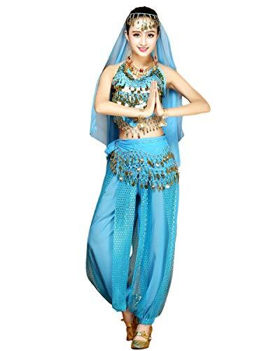 Grouptap Womens Bauchtänzerin 4-teiliges Kostüm Set Outfit blau mit Top Hose Kopfschleier Hüfttuch zum arabisch ägyptischen Tanzen (Blau, 150-170cm, 45-65kg)