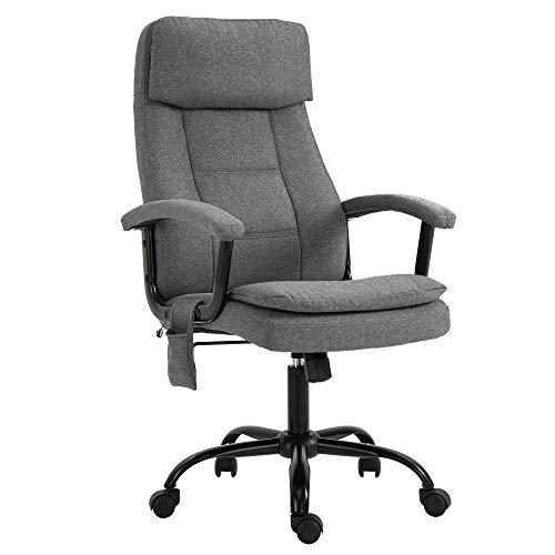 Vinsetto Bürostuhl Massage höhenverstellbarer Chefsessel Gamingstuhl mit Massagefunktion, ergonomischer Drehstuhl Massage Sessel Leinen-Gefühl Grau 63 x 70 x 112-121 cm