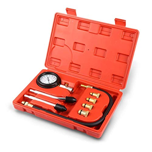 Meccion Motorzylinderdruckmessgerät, Diagnosewerkzeug, 8-teilig, professionelle Benzin- und Diesel-Kraftstoffpumpe, Kompressionsprüfer-Set