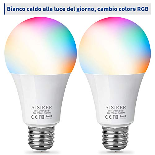 Lampadina Smart, AISIRER Lampadina Intelligente WiFi, 7W Equivalgono a 60W, LED E27 RGB Dimmerabile Multicolore Compatibile con Amazon Alexa e Google Assistant Senza Hub Richiesto (Confezione da 2)