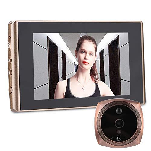 Vbestlife 4300E Digital Timbre Cámara para Puerta de 2 Millones de Píxeles Imagen HD 4.3in Pantalla LCD Timbre Video de Visión Nocturna Admite Tarjeta Micro SD de 32 GB