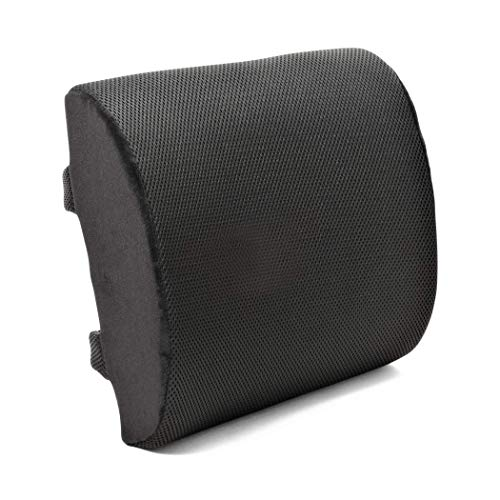 Plixio Memory Foam Lumbar Back Cushion Support Pillow - Lower Back Pain Relief and Balanced Firmness for Computer Office Chair, Car Seat, Recliner - with Adjustable Straps (Renewed)