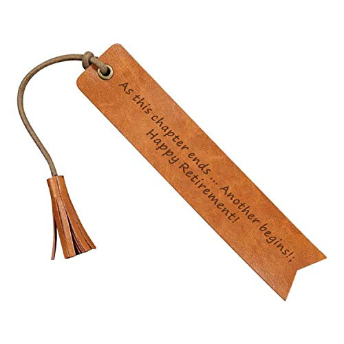 at This Chpter Ends Another Begins Happy Retirement Reader Leather Bookmark Wedding Party Gift Engraved Wedding Reader (Life is a Book)
