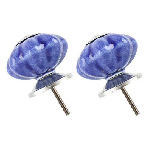 YeVhear - Juego de 2 botones de cerámica de 41 mm, estilo vintage, tirador para muebles, armario, armario, cajonera de repuesto, accesorio indio, color azul