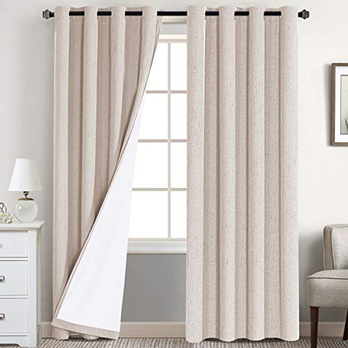 Flamingo P 100% Blackout Curtains with White Thermal Insulated Liner Lined Blackout Drapes Grommet Top Curtains for Living Room Window Treatment Set Curtain Panel (2 Panels 52 x 84 Inches, Natural)