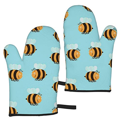 XCNGG Bee Clip Oven Mitts Fashion Soft Non-Slip Heat Resistant Safe Cooking Baking Grilling BBQ Party Kitchen Microwave Oven Funny Home
