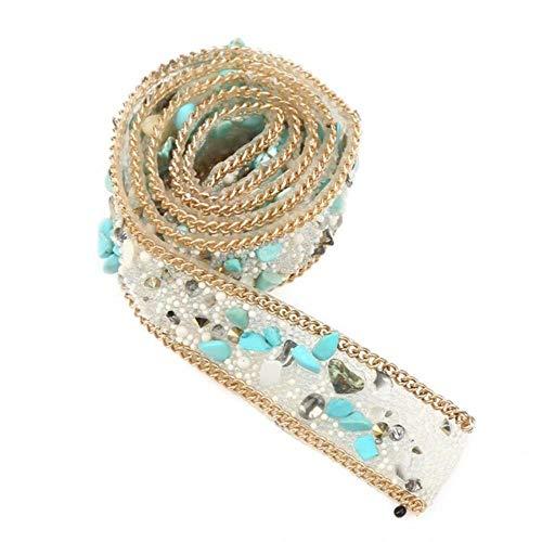 CTOBB Diamantes de imitación para Ropa 1M 2cm de Ancho Cristales de pedrería con Cuentas de Cristal Recorte de Hierro en Parche para Bolsa de Ropa Zapatos, Verde