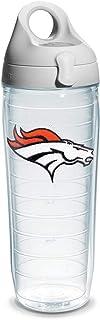 Tervis NFL Denver Broncos Emblem Individual Water Bottle with Gray Lid, 24 oz, Clear