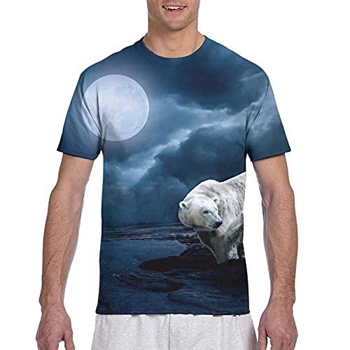 Fantasía Niño Polar Bear Luna Noche Hombres Algodón Clásicos Cuello Redondo Camisetas