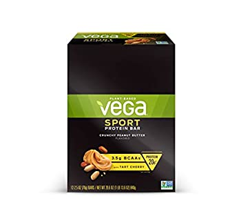 Vega Sport Vegan Protein Bar Crunchy Peanut Butter Post Workout Protein Energy Bars - Plant Based Vegan BCAAs Vegetarian Dairy Free Gluten Free Non GMO  12 Count