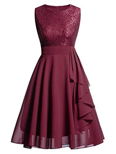 DIDK Damen Kleider Elegant Knielang Vintage A Linie Spitzenkleid Rockabilly Cocktailkleid Ärmellos mit Rüschen Bordeaux XL