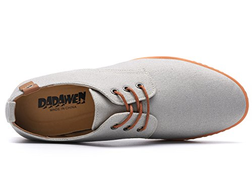 DADAWEN Men's Casual Canvas Oxfords Walking Shoes Sneakers Lace Up Dress Shoes Gray US Size 10.5