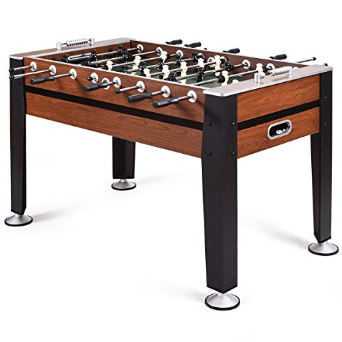 """COSTWAY 54"""" Football Table, Free Standing Foosball Game with Bead Style Scoring Device, Competition Sized Soccer Arcade for Adults, Kids, Indoor Room Sport"""