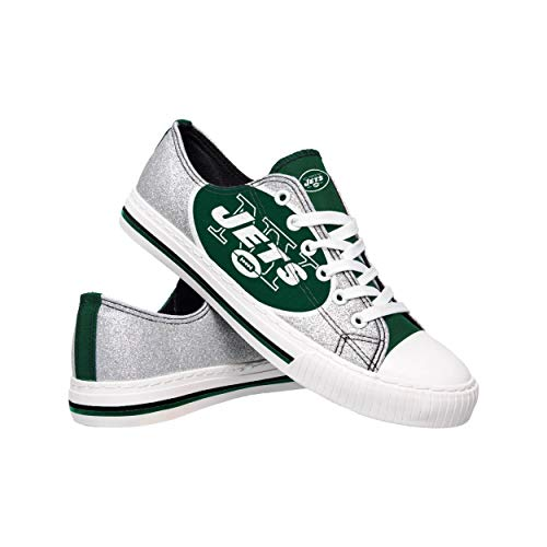 FOCO NFL New York Jets Womens Ladies Glitter Low Top Canvas Sneaker Shoesladies Glitter Low Top Canvas Sneaker Shoes, Team Color, 9/X-Large