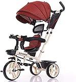 For enfants Tricycle vélo 1-3-2-6 Ans bébé Lumière bébé poussette enfant poussette vélo zghzsc (Color : Bright red)