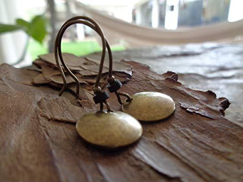 ★ ARANDELA DE VINTAGE DE BRONCE Y RONDELL DE CERÁMICA NEGRA ★ pendientes vintage de bronce