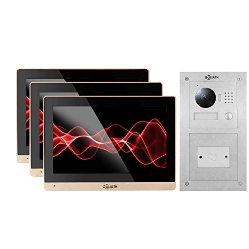 Goliath AV-VTC145 IP-deurbelsysteem met video, inbouw RFID deurstation, roestvrij staal, HD-camera, mobiele telefoon app, sleutelloze toegang, videogeheugen, 1 familiehuis-set