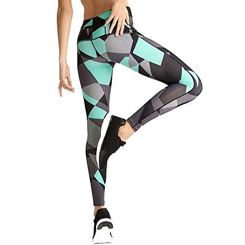 Yoga Palestra Leggins Allenamento Pantaloni, Pantaloni da yoga a blocchi di colore stretch da donna Leggings Capri sexy Stampe geometriche irregolari estate Pantaloni skinny lunghi da jogging Calzamag