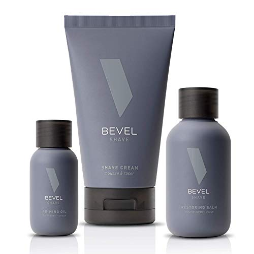 Shaving Kit for Men by Bevel - Includes Pre Shave Oil, Shaving Cream, and After Shave Balm, Clinically Tested to Reduce Skin Irritation and Prevent Razor Bumps