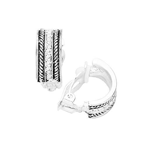 Schmuckanthony Hoernel - Pendientes de clip con cadena de plata con cristales transparentes, 2 cm de largo