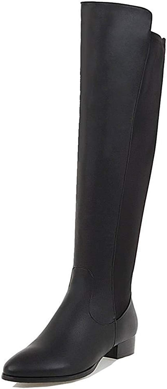 Unm Women's Comfortable Inside Zip Up Pointy Toe Chunky Low Heel Knee High Riding Boots with Zipper