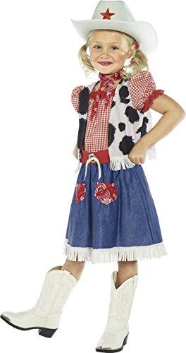 Smiffy's Cowgirl Sweetie - Traje de vaquera con vestido, chaleco, bufanda, cinturón y sombrero, tamaño: S